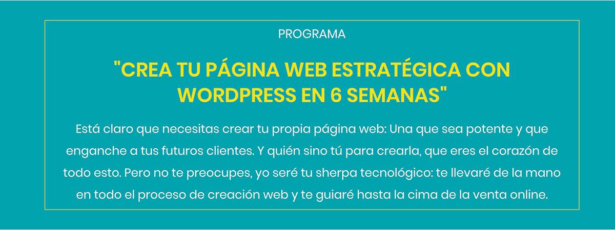 CREA TU PÁGINA WEB ESTRATÉGICA CON WORDPRESS EN 6 SEMANAS